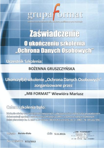 Zaświadczenie o ukończoniu szkolenia z zakresu ochrony danych osobowych