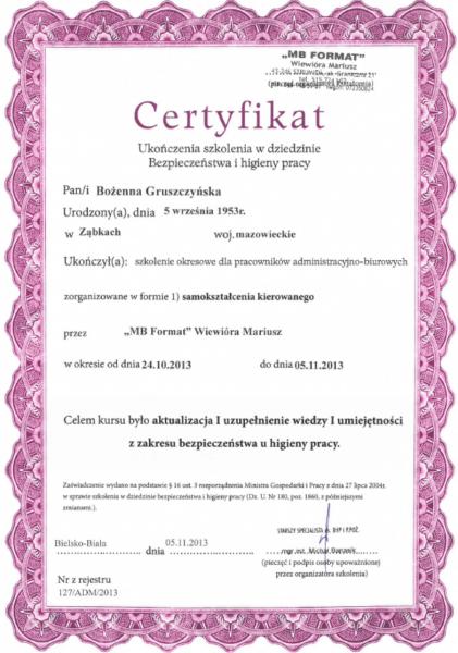 certyfikat z kursu BHP