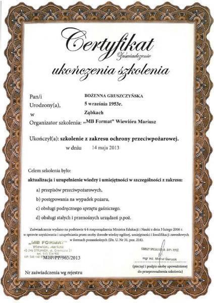 certyfikat z szkolenia z zakresu ochrony przeciwpożarowej